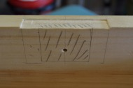 The hole for the key barrel is drilled, and laying out the mortise for the lock mechanism.