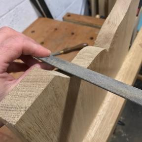 The 9 grain rasp removes saw marks...